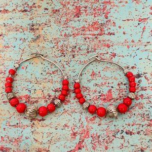 Vintage Orange Silver Bead  Hoop Pierced Earrings